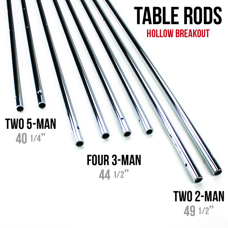 "Set of 8 Hollow 5/8"" Steel Rods for Standard Foosball Tables"