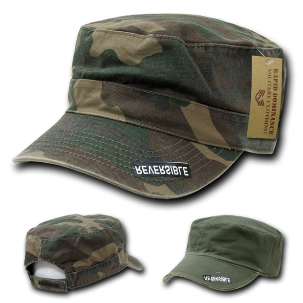 Rapid Dominance R98 Reversible Camo Flat Top Caps: Woodland