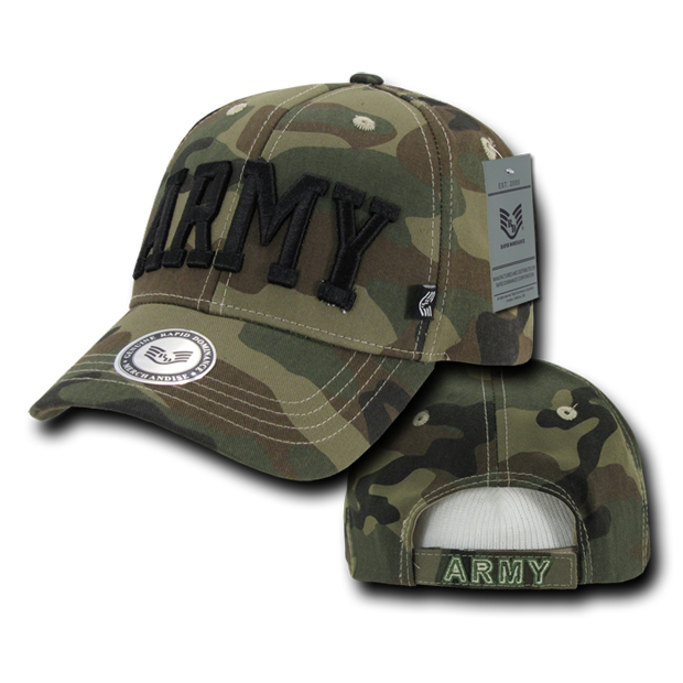 Rapid Dominance 940 Camo Military Logo Caps: Woodland, Army Text