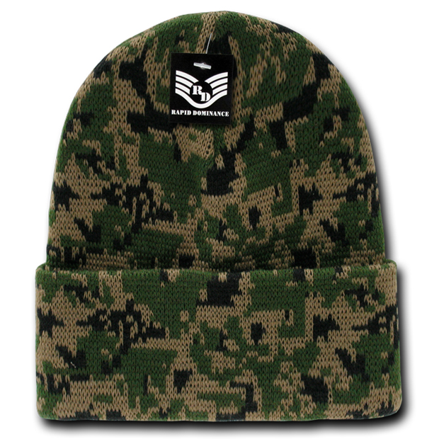 Rapid Dominance R607 Camo Cuff Beanies Watch Caps: Woodland Digital