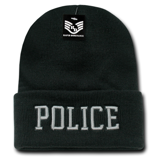 Rapid Dominance R81 Embroidered Military Law Beanies: Black, Police, Long