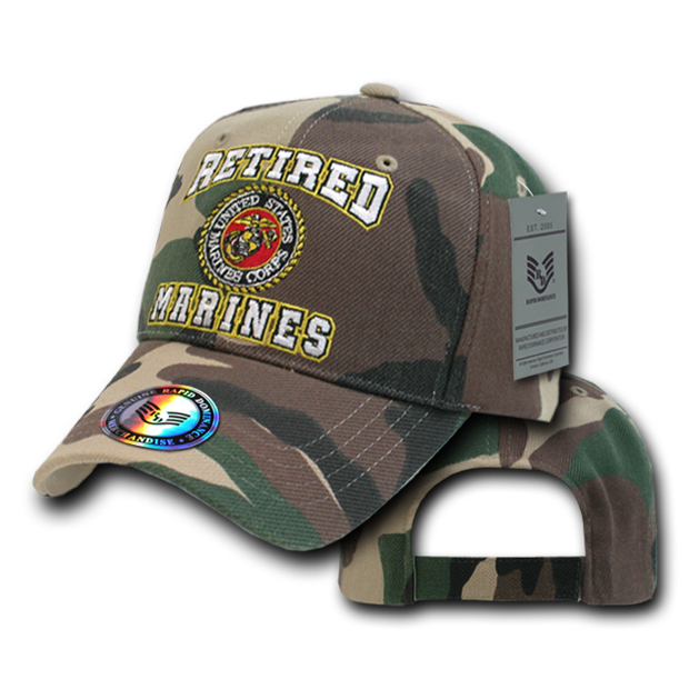 Rapid Dominance RET Retired Military Baseball Caps: Camo Forest, Marines