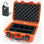 Plasticase Nanuk 915 Case with Padded Divider and Padlock: Orange