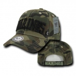 Rapid Dominance 940 Camo Military Logo Caps: Woodland, Marines Text