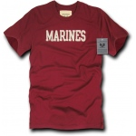 Rapid Dominance R54 Felt Applique Military T-Shirts: Maroon, Marines
