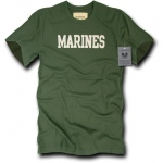 Rapid Dominance R54 Felt Applique Military T-Shirts: Olive, Marines