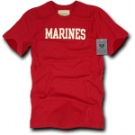 Rapid Dominance R54 Felt Applique Military T-Shirts: Red, Marines