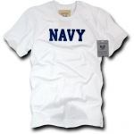 Rapid Dominance R54 Felt Applique Military T-Shirts: White, Navy