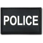 "Rapid Dominance T90 Tactical Rubber Patches: Black, Police, 3"" x 2"""
