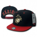 Rapid Dominance S006 Jumbo Back Military Caps: Black/Red, Marines