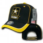 Rapid Dominance S012 Piped Military Caps: Black / Gold, Army