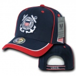 Rapid Dominance S012 Piped Military Caps: Navy / Red, Coast Guard