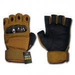 Rapid Dominance T42 Half Finger Hard Knuckle Glove: Coyote