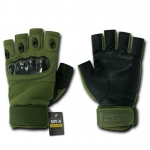 Rapid Dominance T42 Half Finger Hard Knuckle Glove: Olive Drab