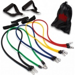 10 Piece Resistance Band Set with Carrying Case and Exercise