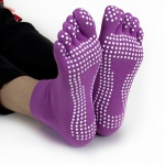 Purple Yoga Toe Socks w/Slip-free Silicone Texturizing Beads
