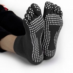 Black Yoga Toe Socks w/ Slip-free Silicone Texturizing Beads