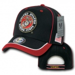 Rapid Dominance S012 Piped Military Caps: Black / Red, Marines